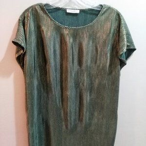 GREEN GOLD CAP-SLEEVED RIBBED METALLIC BLOUSE
